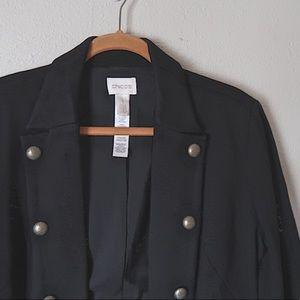 CHICOS || double embellished breast blazer jacket